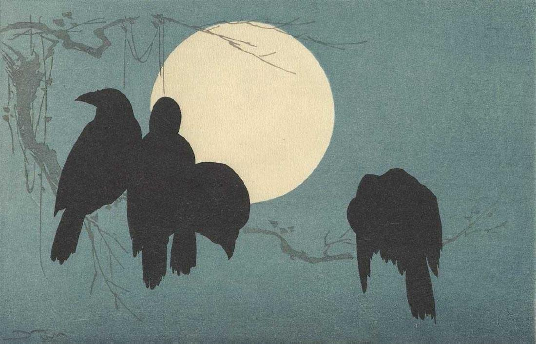 Korin Ogata, After Woodblock Crows and Moon