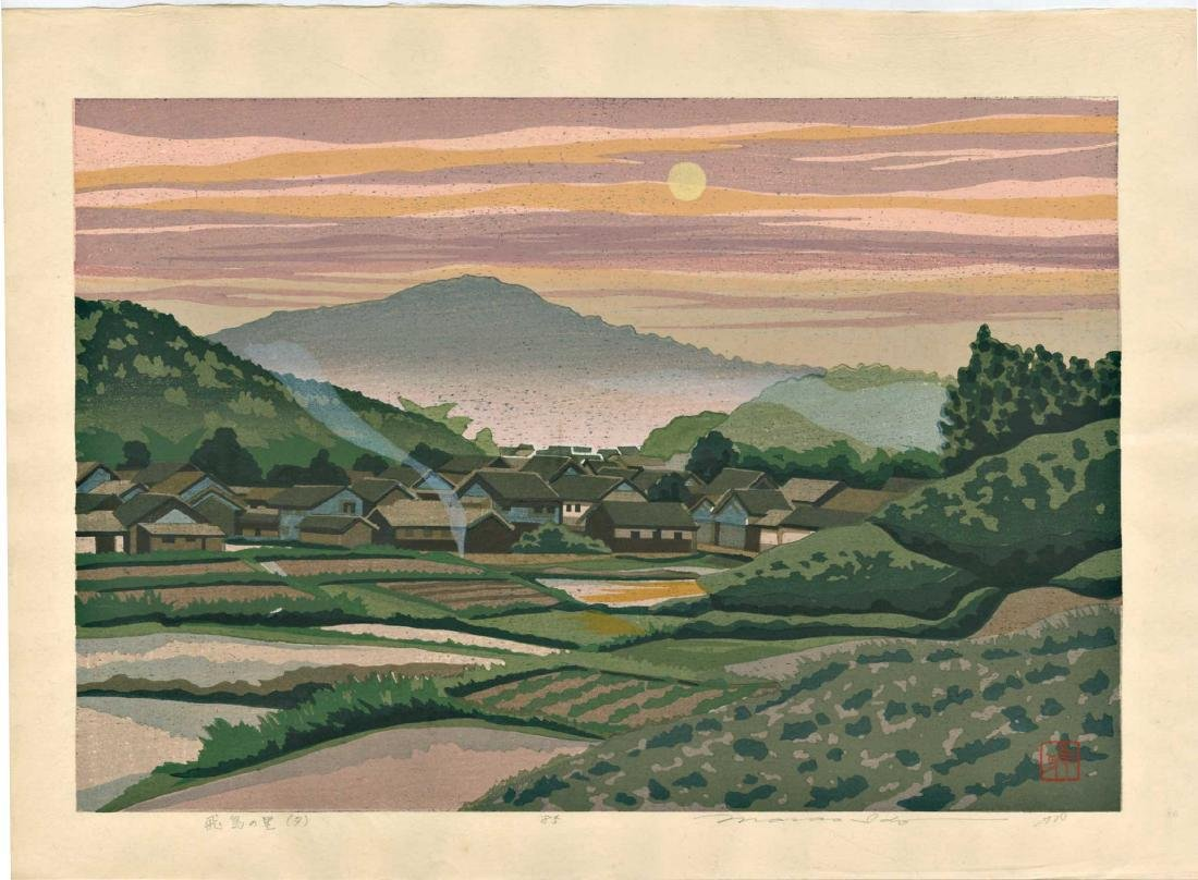 Masao Ido First Edition Woodblock Farm Full Moon