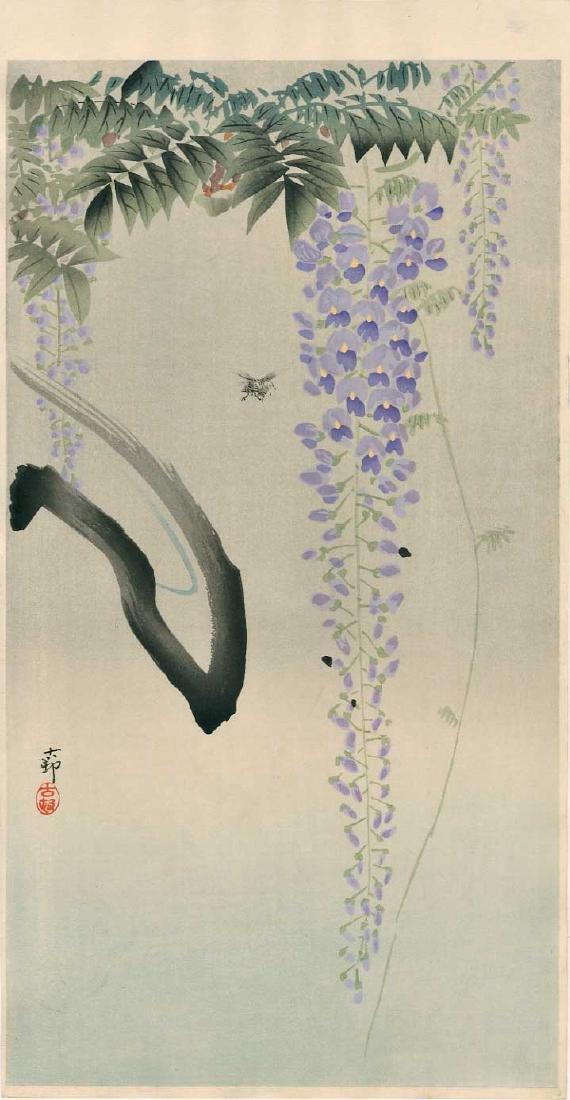 Ohara Koson Woodblock Bee and Wisteria