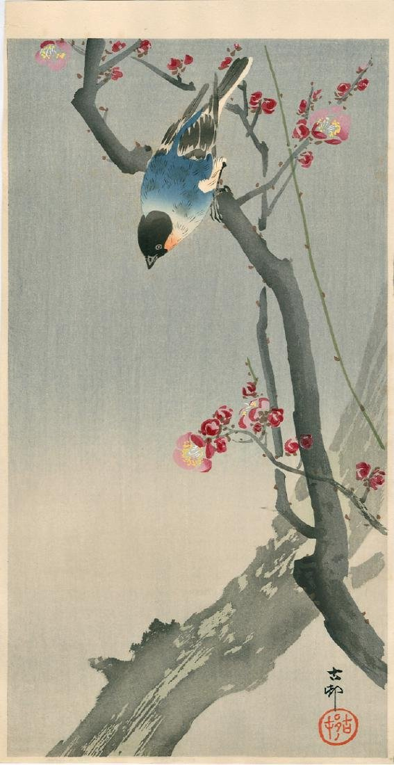 Ohara Koson Woodblock Bullfinch on a Flowering Branch