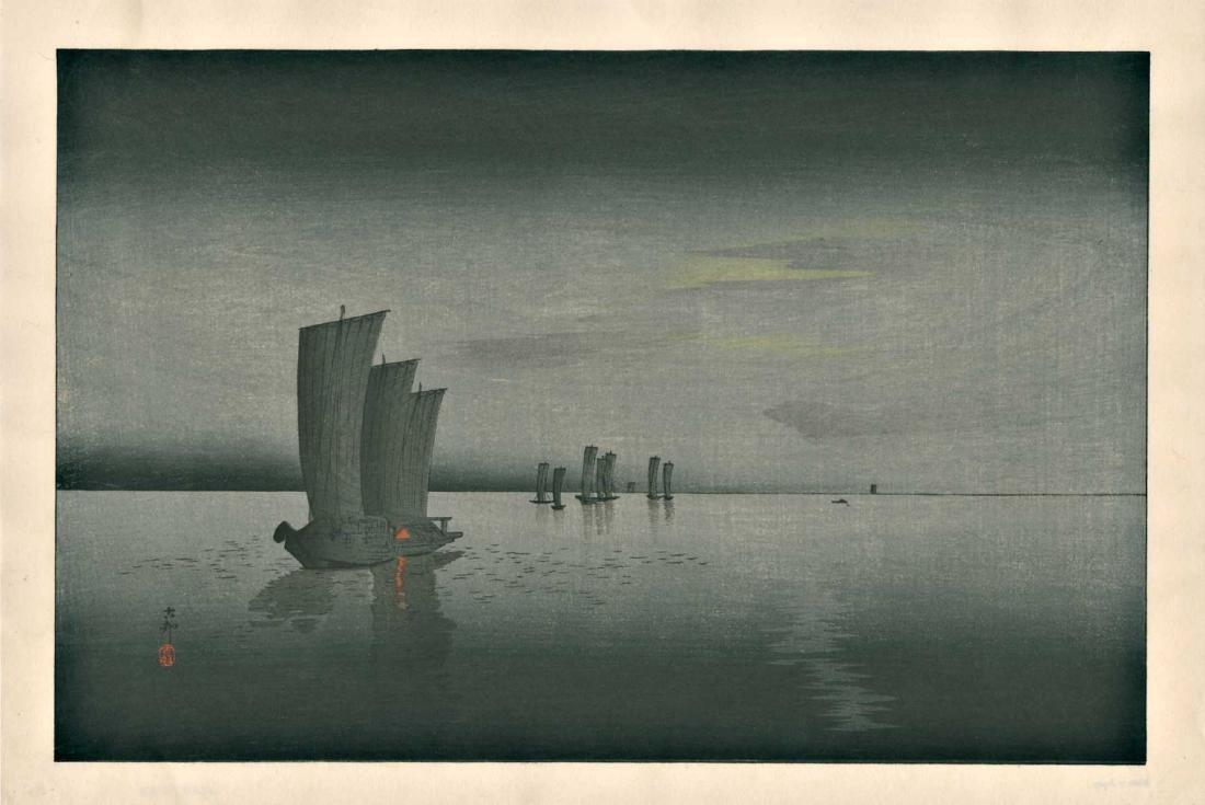 Ohara Koson Woodblock Sailboats at Dusk