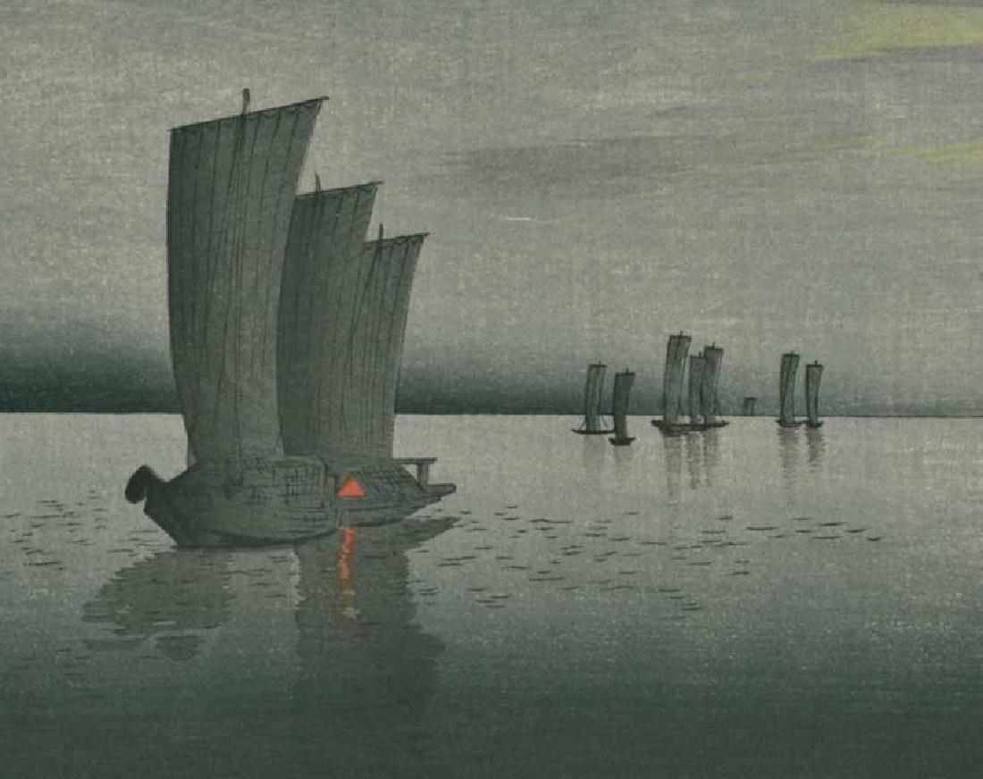 Ohara Koson Woodblock Sailboats at Dusk - 2