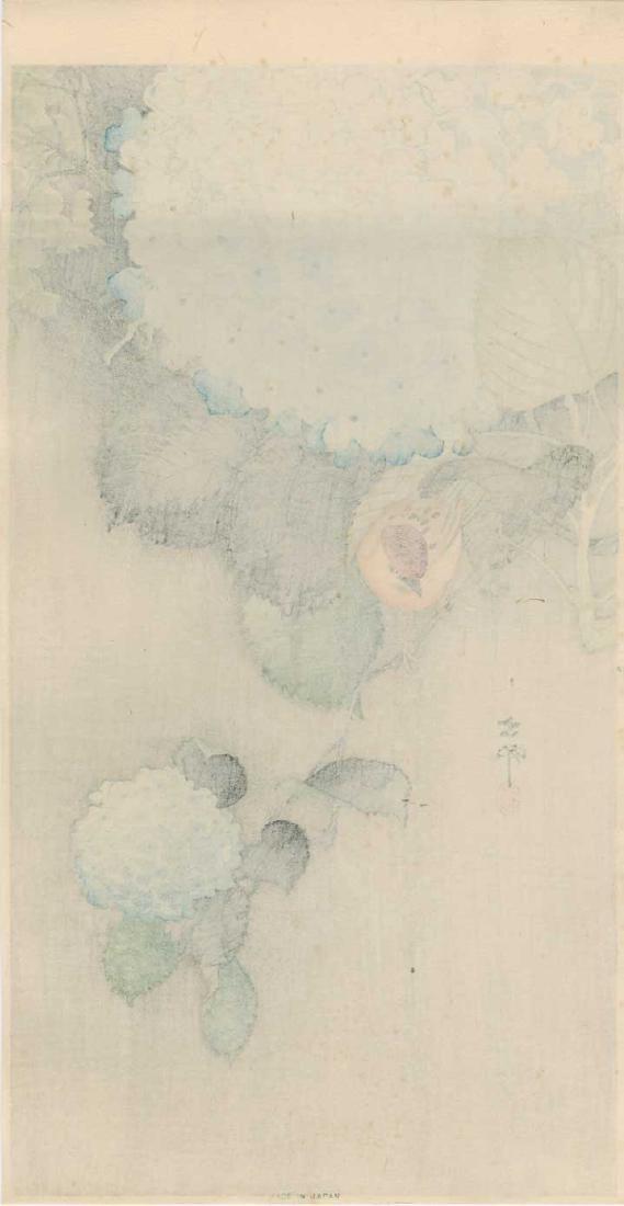 Ohara Koson Woodblock Sparrow and Hydrangea - 2