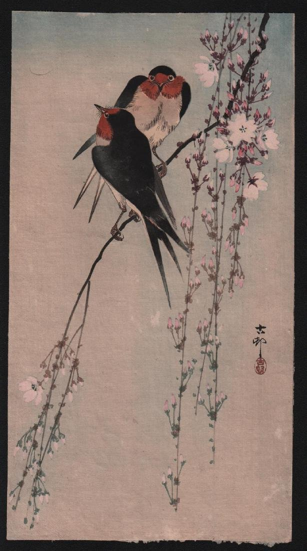 Ohara Koson Woodblock Swallows & Cherry Blossoms