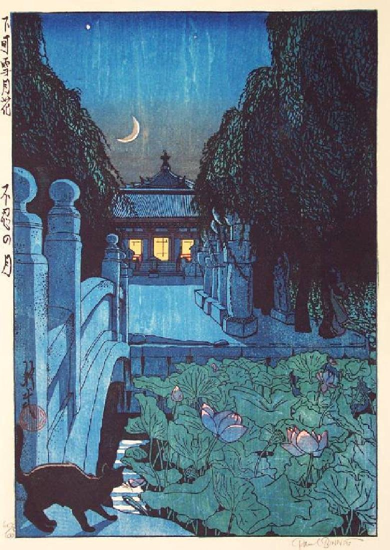 Paul Binnie Woodblock Moon at Shinobazu