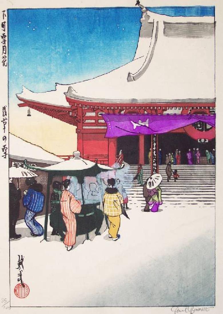Paul Binnie Woodblock Snow at Asakusa