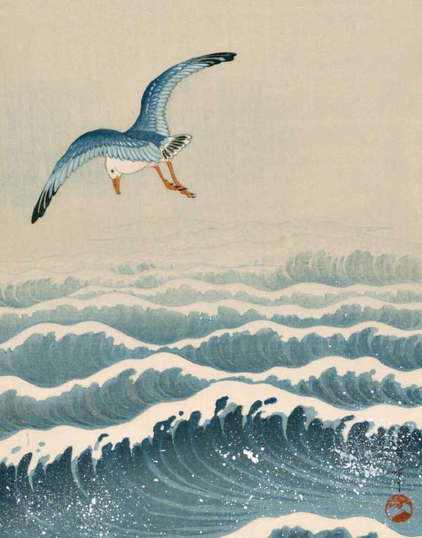 Seitei Watanabe Woodblock Seagulls Over Waves - 2