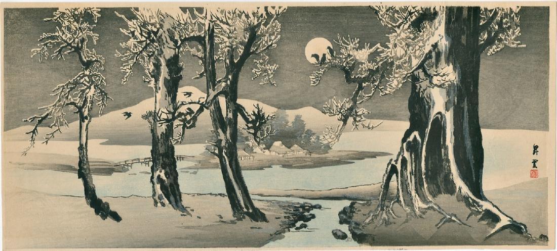 Shoun Yamamoto Woodblock Snowy Landscape Crows