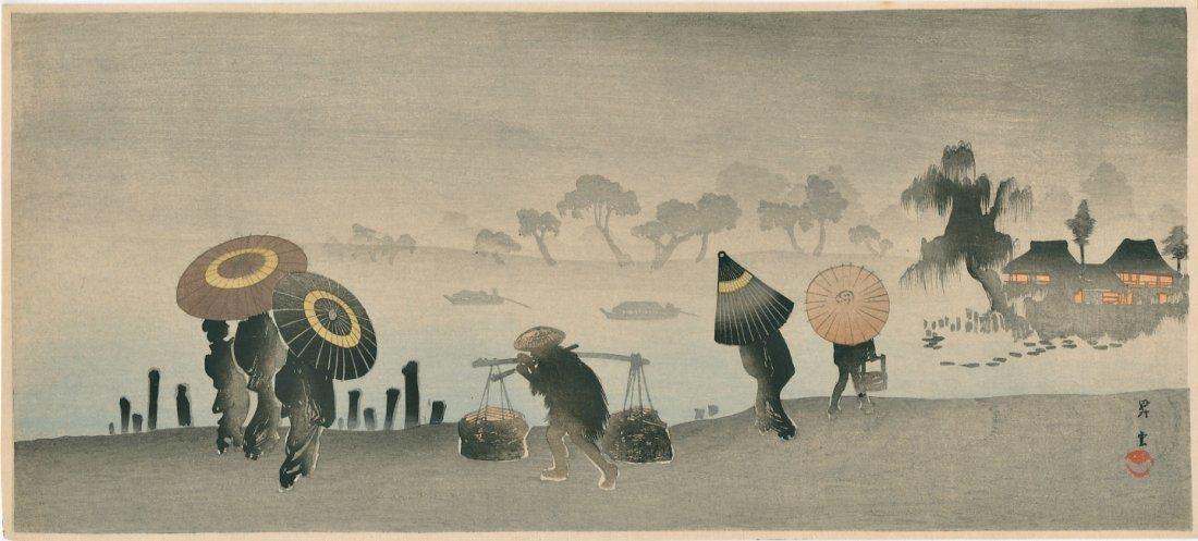Shoun Yamamoto Woodblock Sudden Shower Riverside
