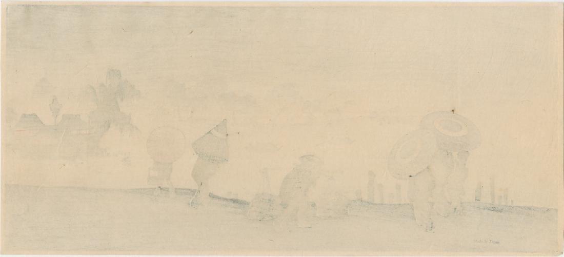 Shoun Yamamoto Woodblock Sudden Shower Riverside - 2