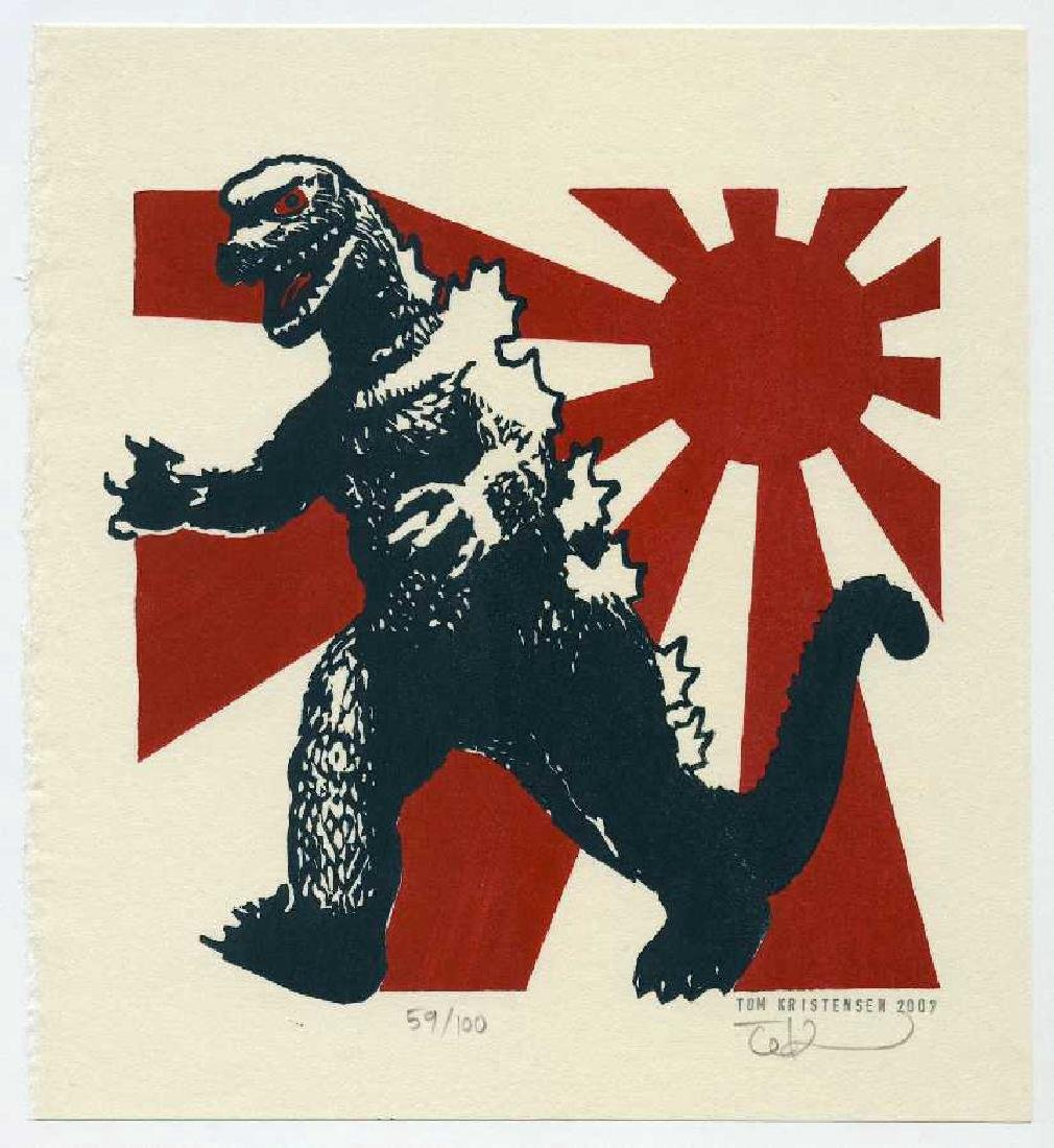 Tom Kristensen Woodblock Godzilla Japanese Imperial