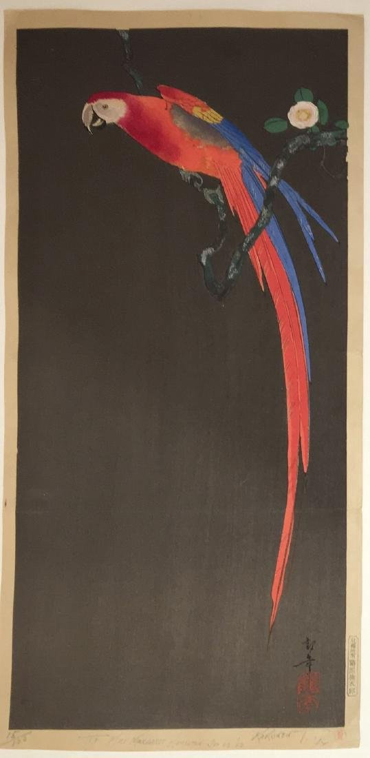Tsuruoka Kakunen Woodblock Macaw