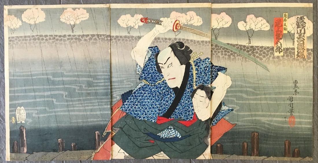 Utagawa Kunichika Woodblock Kabuki Triptych