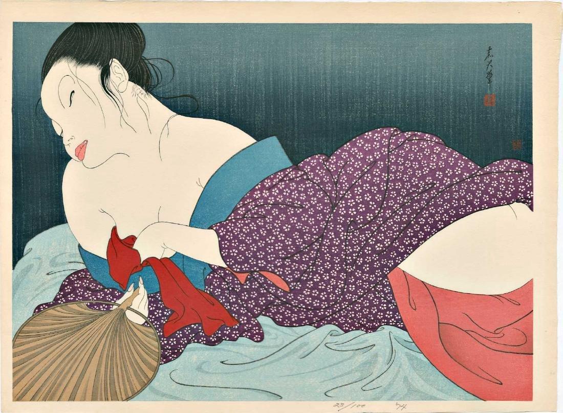 Yoshio Okada Woodblock In the Bedroom