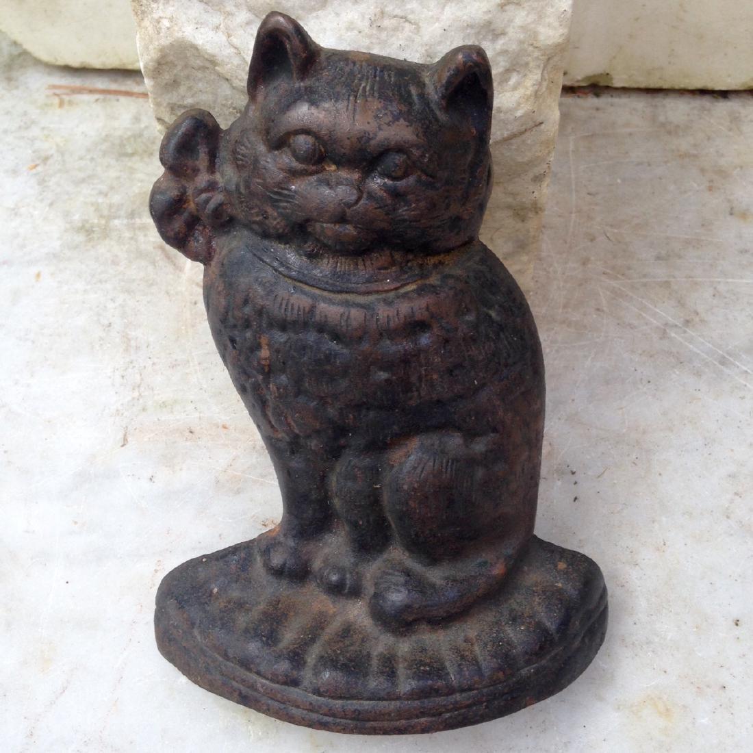 Vintage Cat Cast Iron Door Stop Early 20th Century