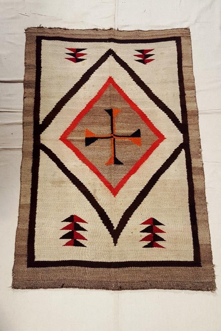 Vintage Navajo Regional Rug Central Cross Circa 1930