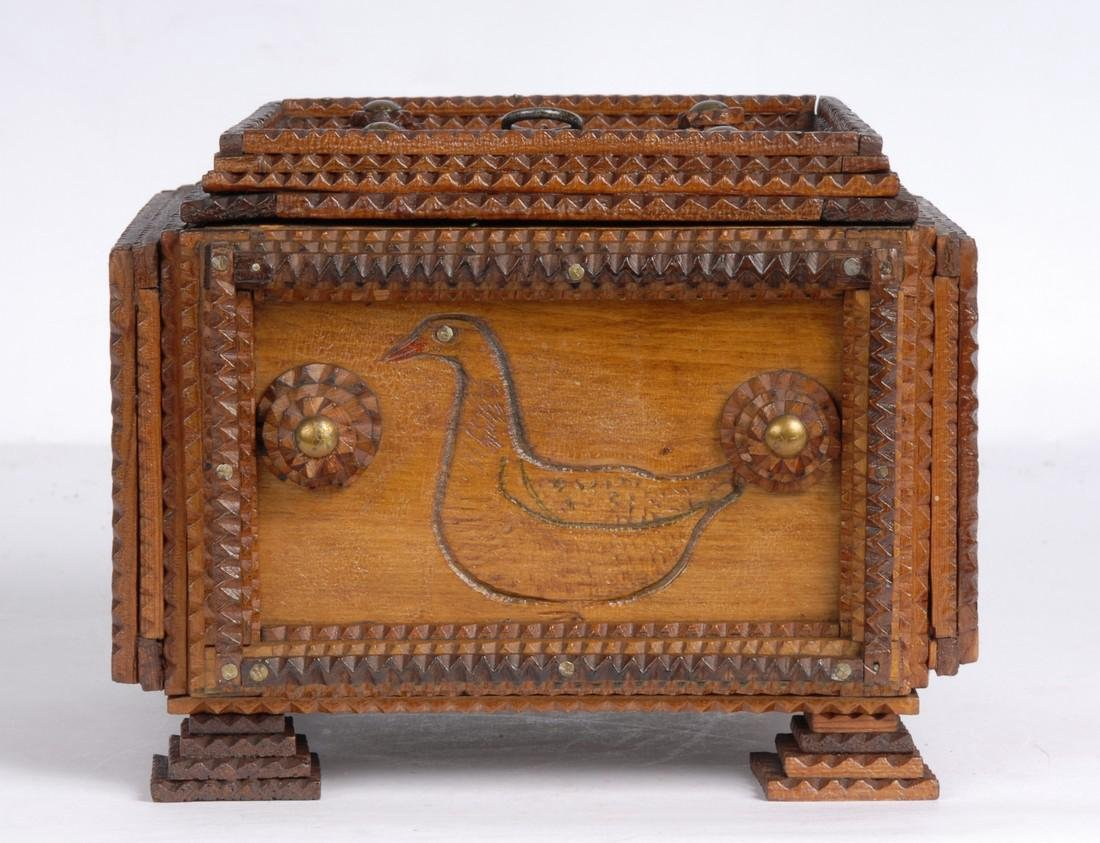 Antique Tramp Art Box With Birds & Geese 1890