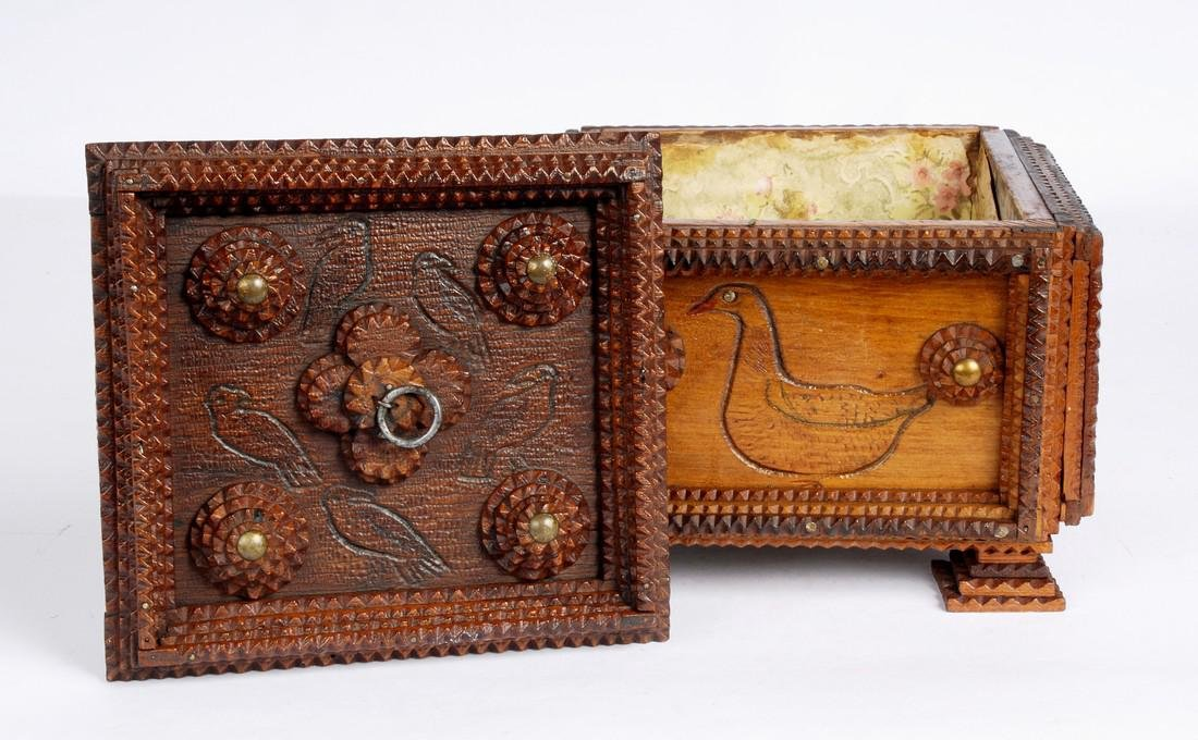 Antique Tramp Art Box With Birds & Geese 1890 - 3