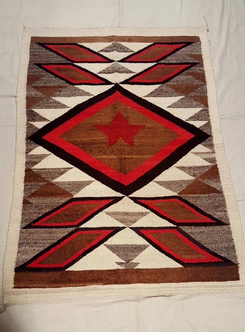 Vintage Navajo Pictorial Rug Texas Star Circa 1940