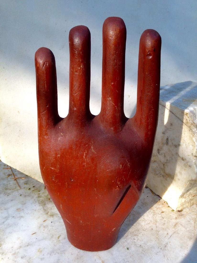 Antique Folk Art Carving of a Painted Hand 19th Century - 2
