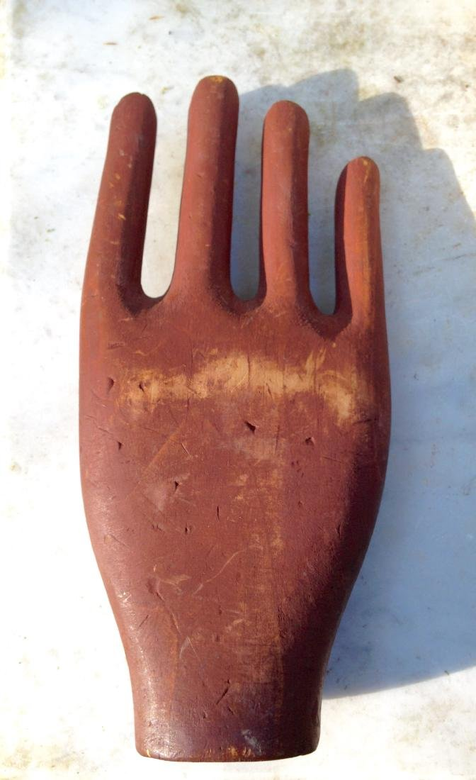 Antique Folk Art Carving of a Painted Hand 19th Century - 4
