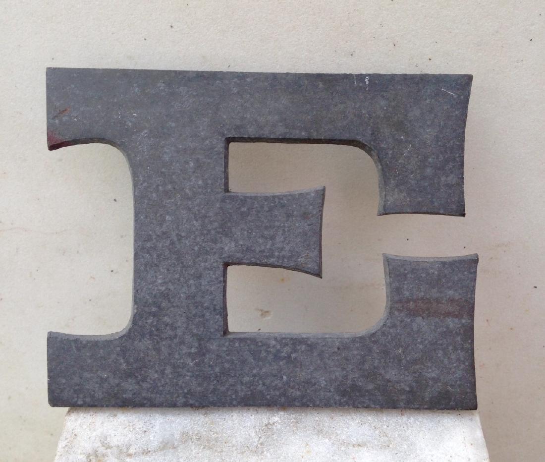 """Zinc Letter """"E"""" 19th Century"""