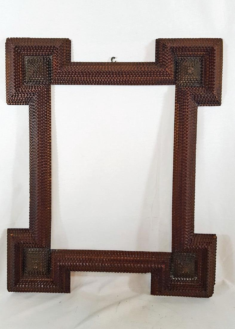 Antique Tramp Art Frame Corner Blocks Circa 1890