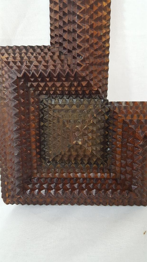 Antique Tramp Art Frame Corner Blocks Circa 1890 - 2
