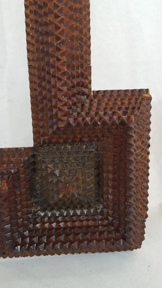 Antique Tramp Art Frame Corner Blocks Circa 1890 - 4