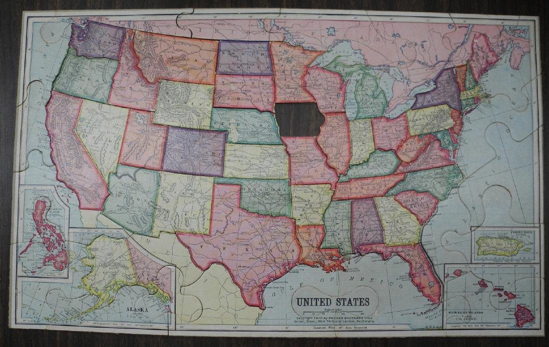 Parker Brothers' United States Puzzle Map - 2