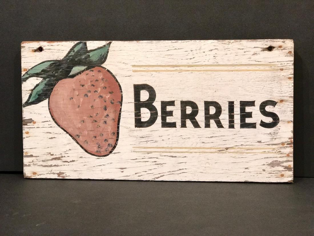 Vintage Berries Sign, Circa 1940