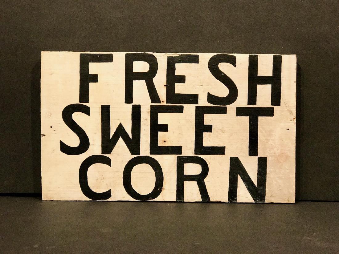 Vintage Fresh Sweet Corn Sign, Circa 1930
