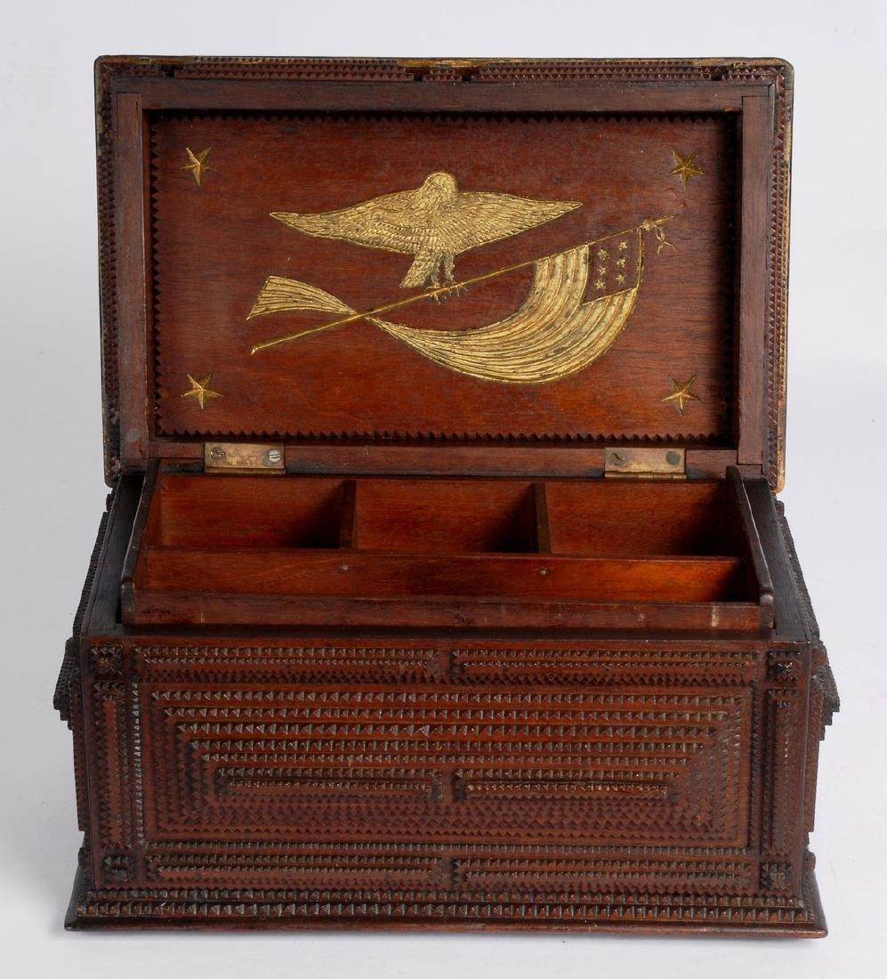 Antique Heart Clasped Hands Tramp Art Box Eagle 1900