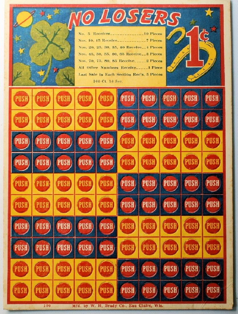 """Vintage 1 Cent Penny Punch Card Game """"NO LOSERS"""""""