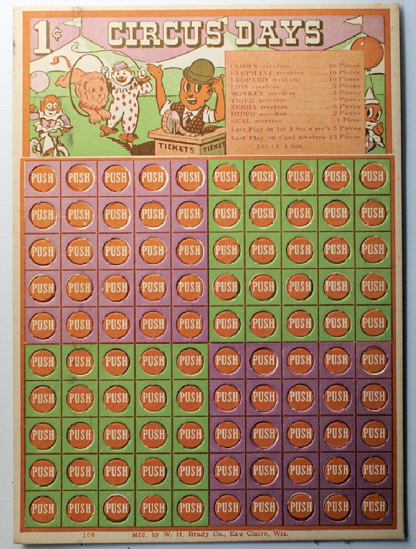 """Vintage 1 Cent Penny Punch Card Game """"CIRCUS DAYS"""""""