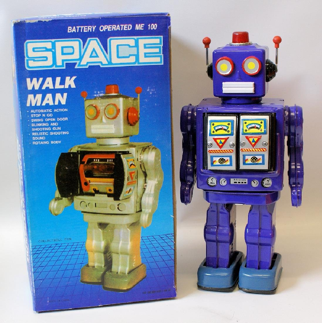 Vintage 1990's Tin Litho Purple SPACE 'WALK MAN' ROBOT