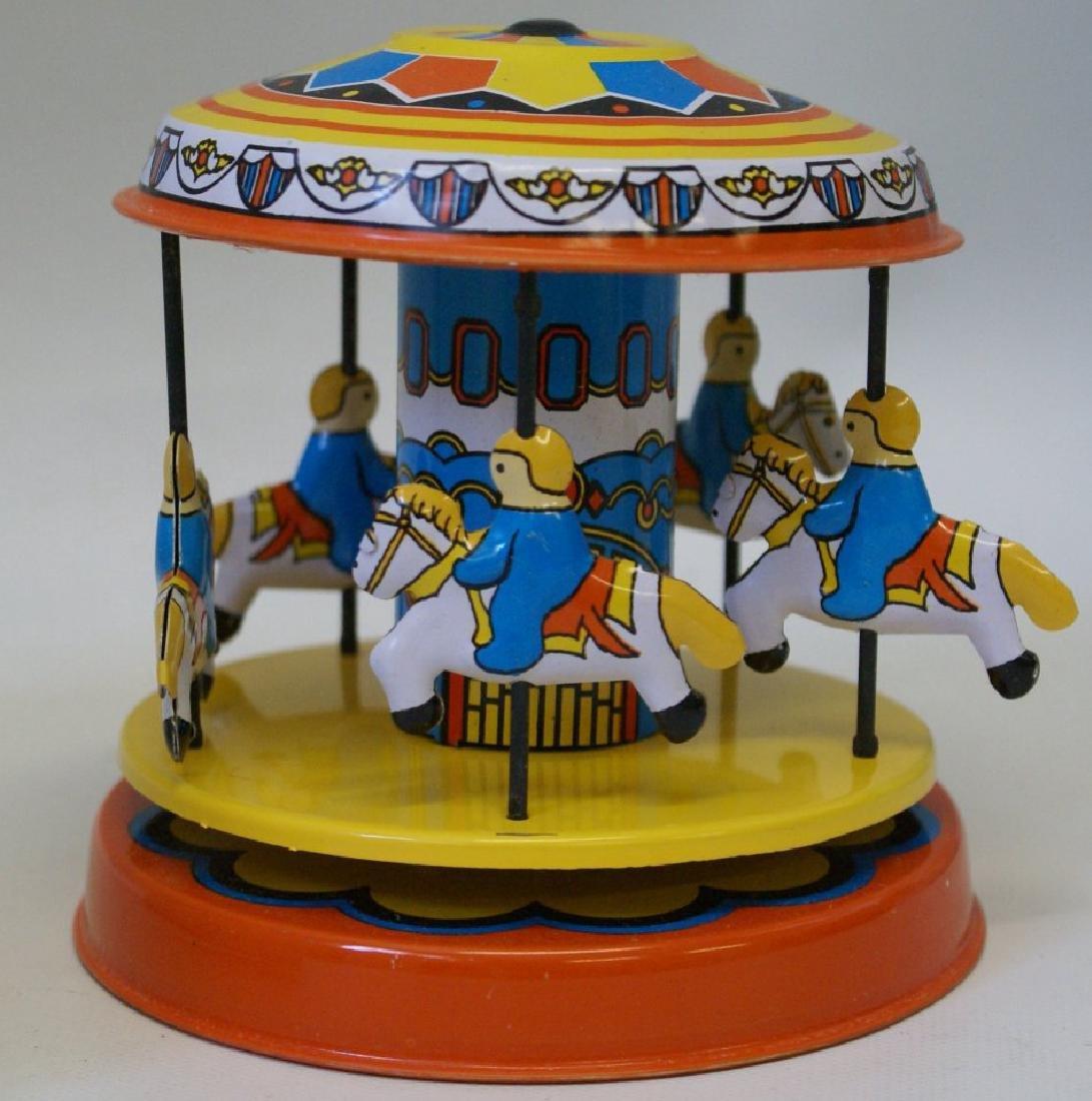 Tin Litho Windup CAROUSEL Merry Go Round Toy - 2