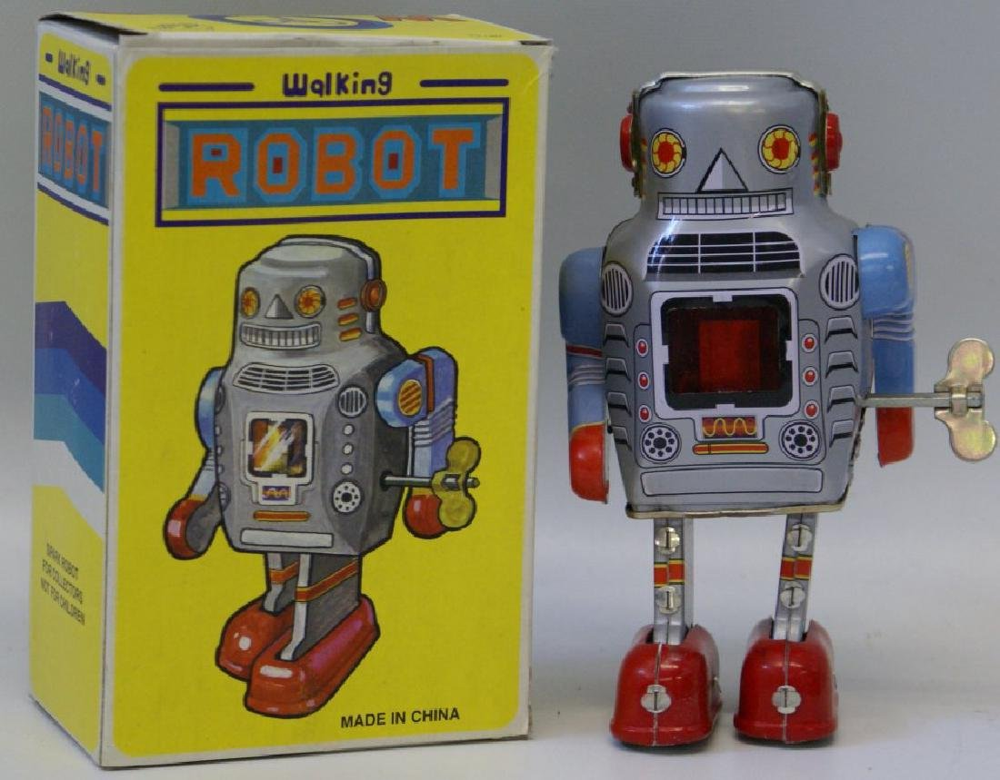 Tin Litho Wind up WALKING ROBOT Space Toy