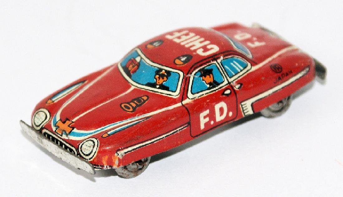 Vintage Tin Mini Penny Toy Fire Chief Fire Car Japan