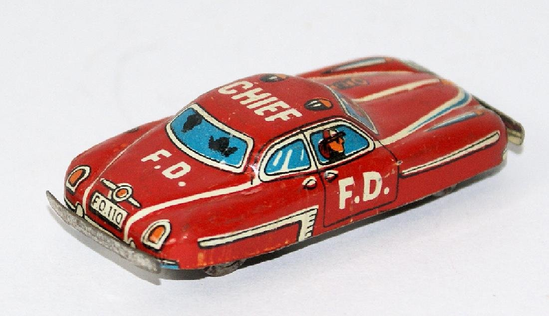 Vintage Tin Mini Penny Toy Fire Chief Fire Car Japan - 2