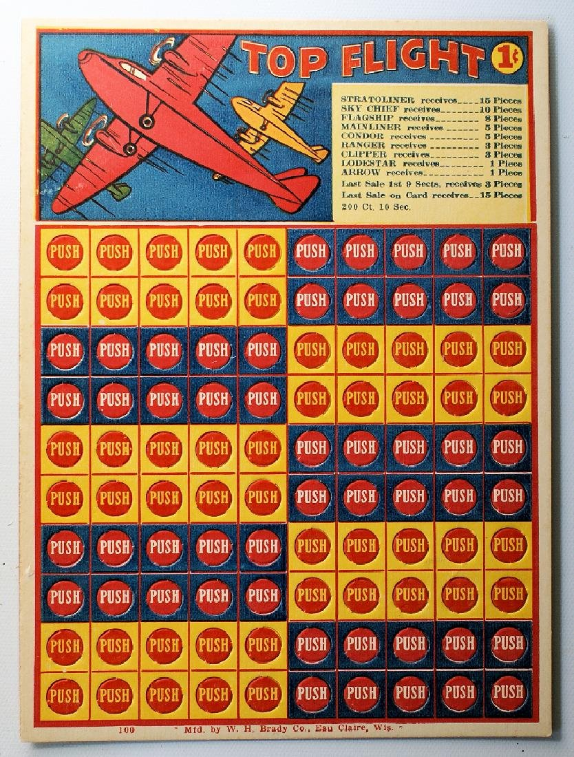 "Vintage 1 Cent Penny Punch Card Game ""TOP FLIGHT"""
