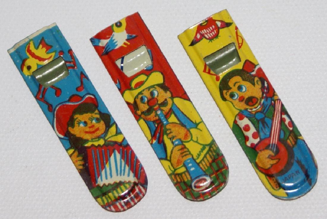 Set of 3 Tin Character Miniature Whistles, Japan