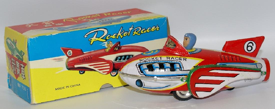 Vintage Tin Litho Friction #6 ROCKET RACER Space Ship