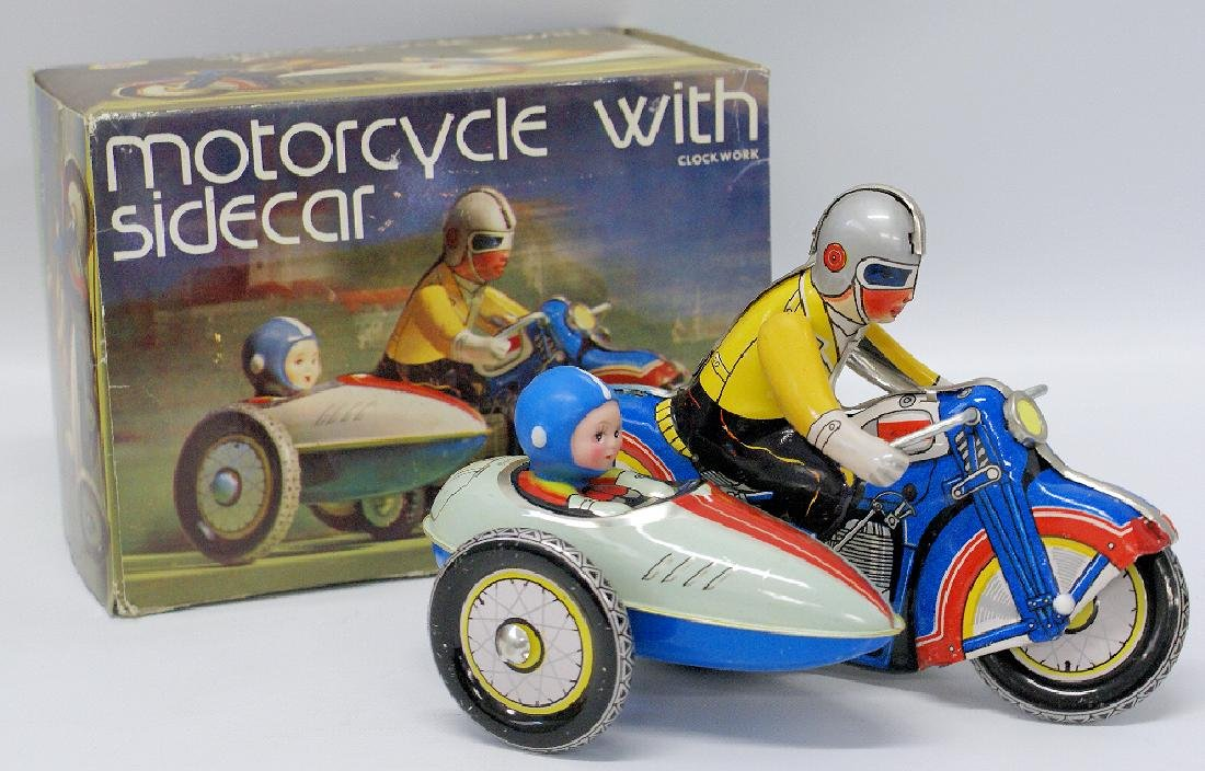 Retro Tin Clockword Windup MOTORCYCLE WITH SIDECAR