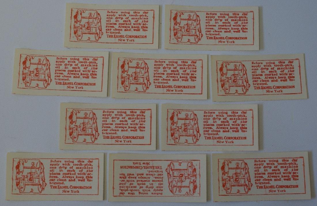 Lot 10 Vintage LIONEL Prewar Train Instruction Labels