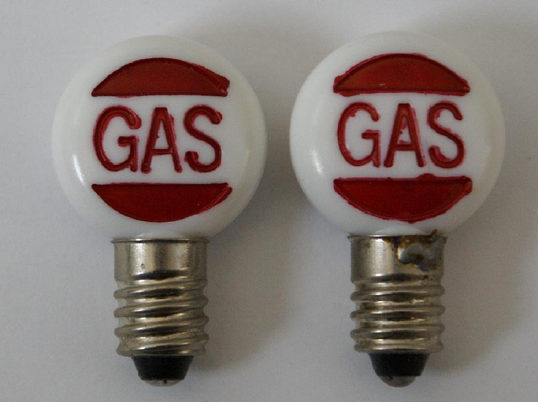 Pair Embossed Bulb Globes Marx Gas Filling Station