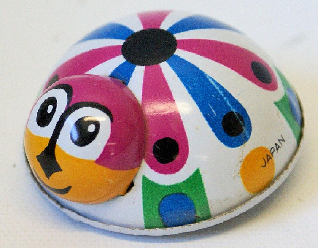 Vintage Tin Friction Colorful Ladybug Toy Whitman Japan