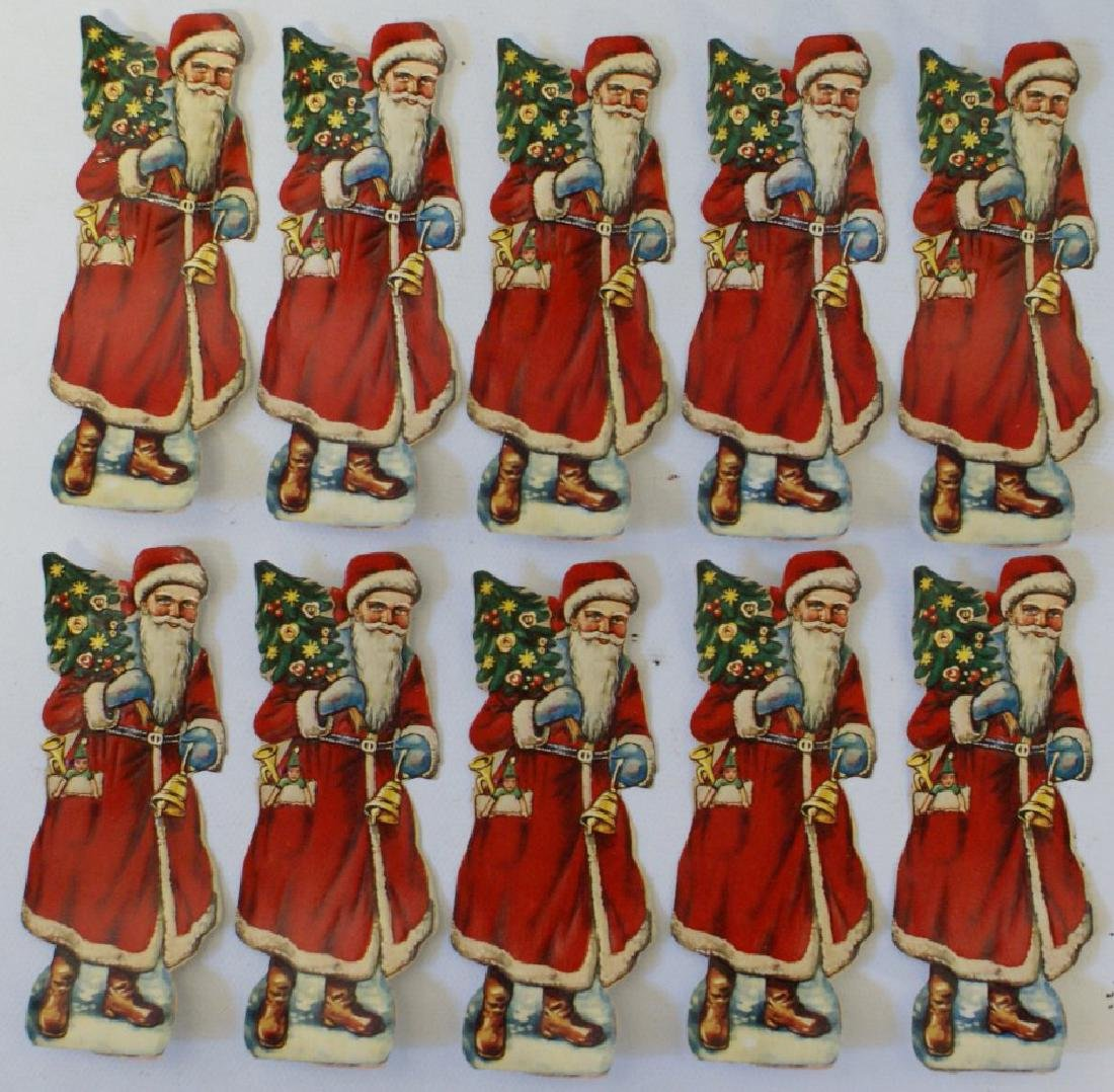 Vintage Lot 10 German Embossed Die Cut 1930 Santa Claus