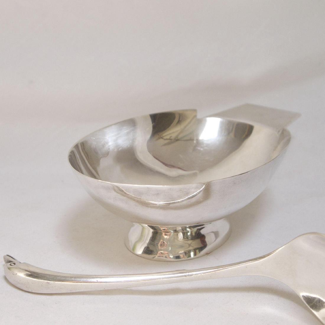 Mid Century Modern Sterling Silver Gravy Bowl & Spoon - 2