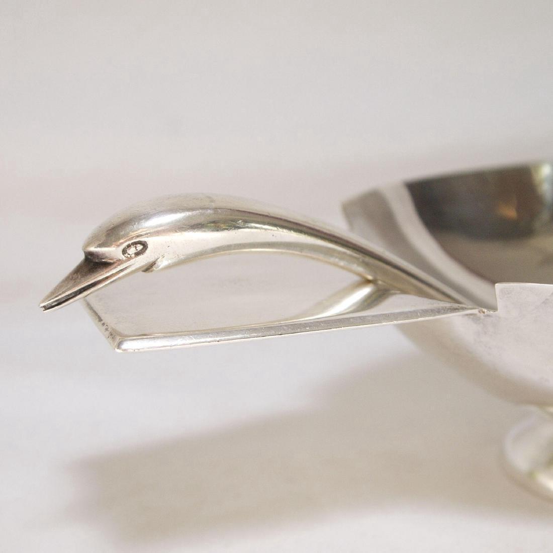 Mid Century Modern Sterling Silver Gravy Bowl & Spoon - 4